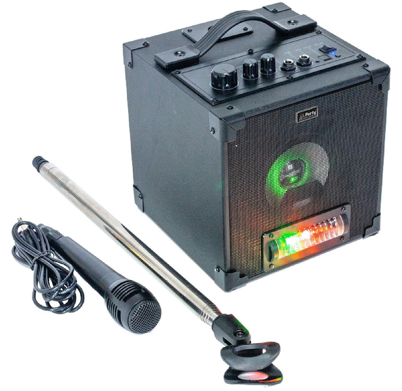 Aktivt karaoke sæt m. LED lyseffekt + mic og stand